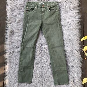 7 For All Mankind Distressed Crop Olive Green